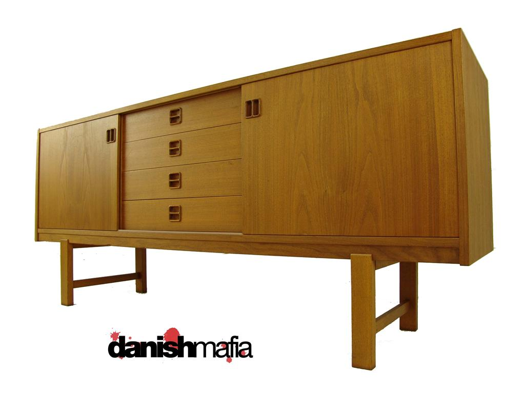 Danish Modern Buffet Credenza : Danish modern teak buffet credenza with centre drawers and sword
