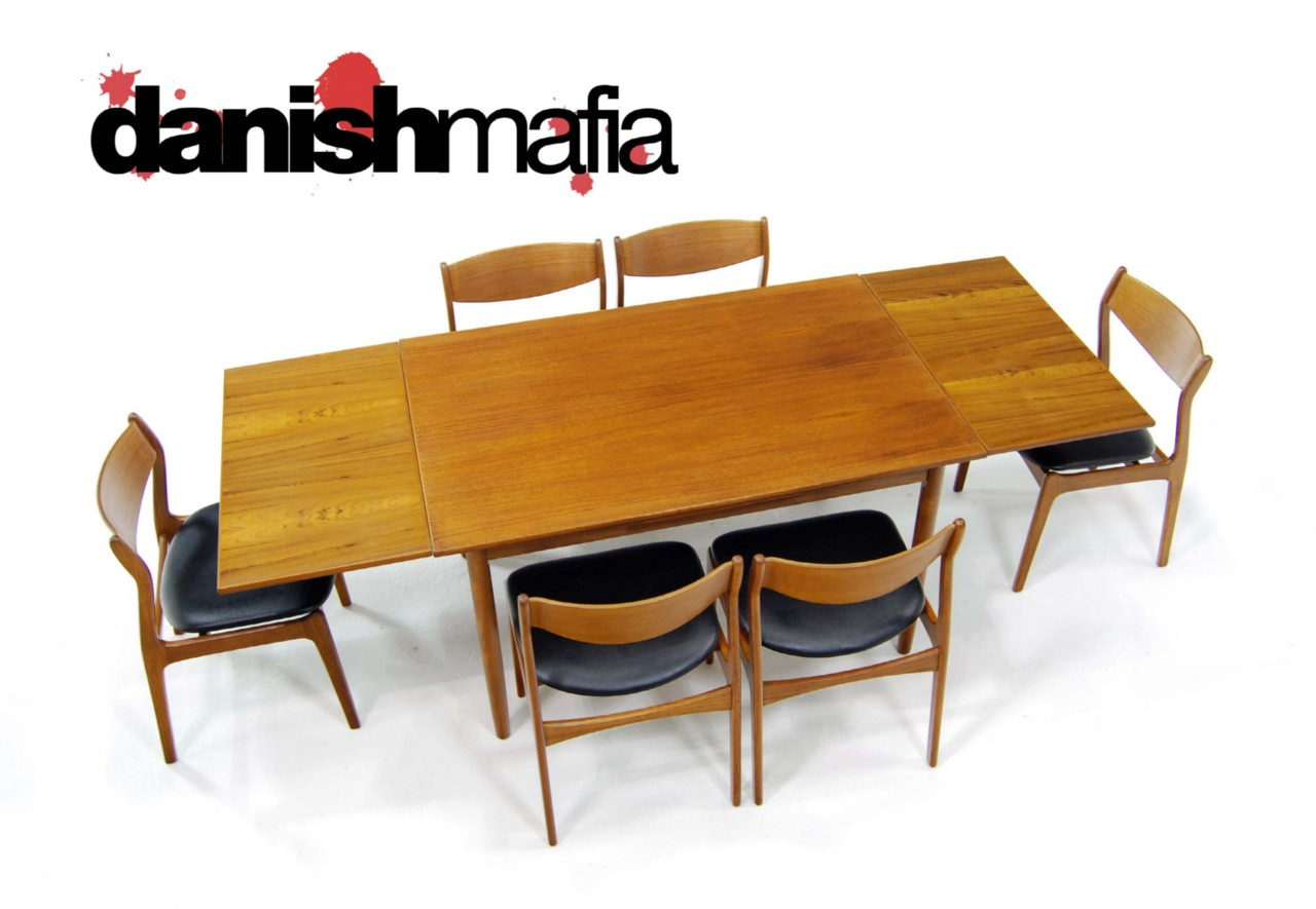 mid century danish modern teak dining table chair set danish mafia