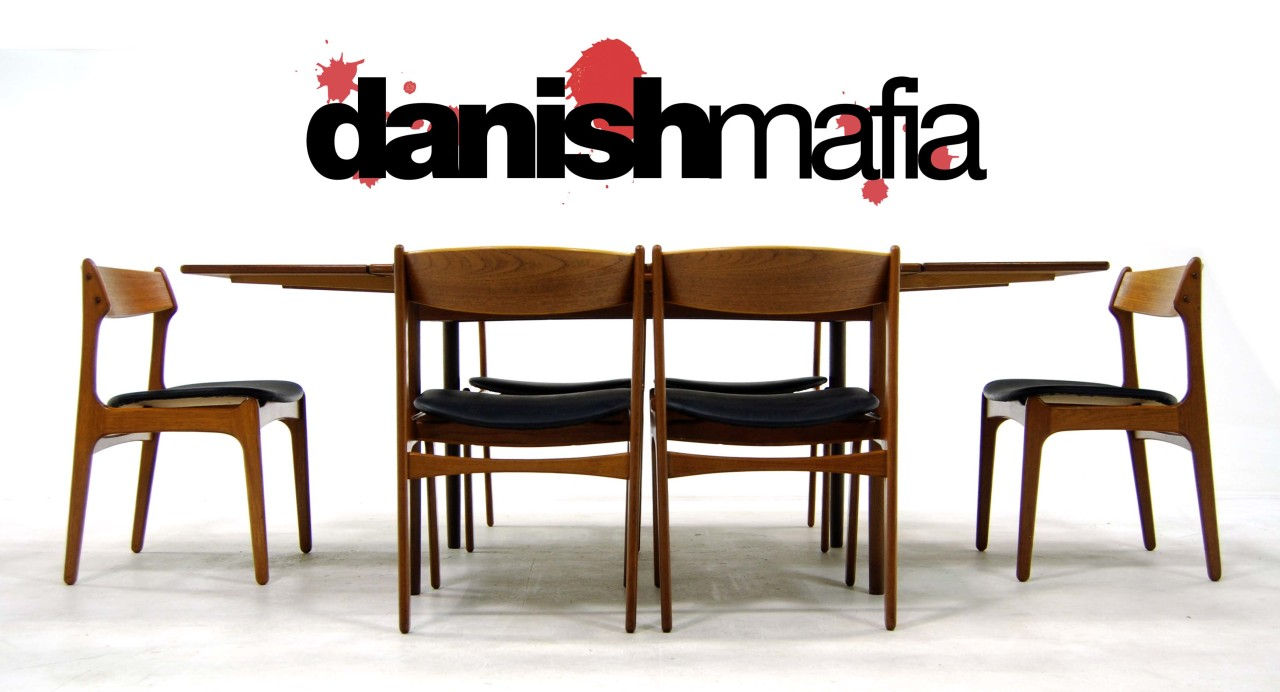 Mid century danish modern teak dining table chair set for Modern table and chairs