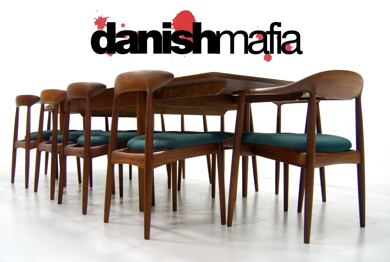 mid century danish modern teak dining chair set  danish mafia -  o