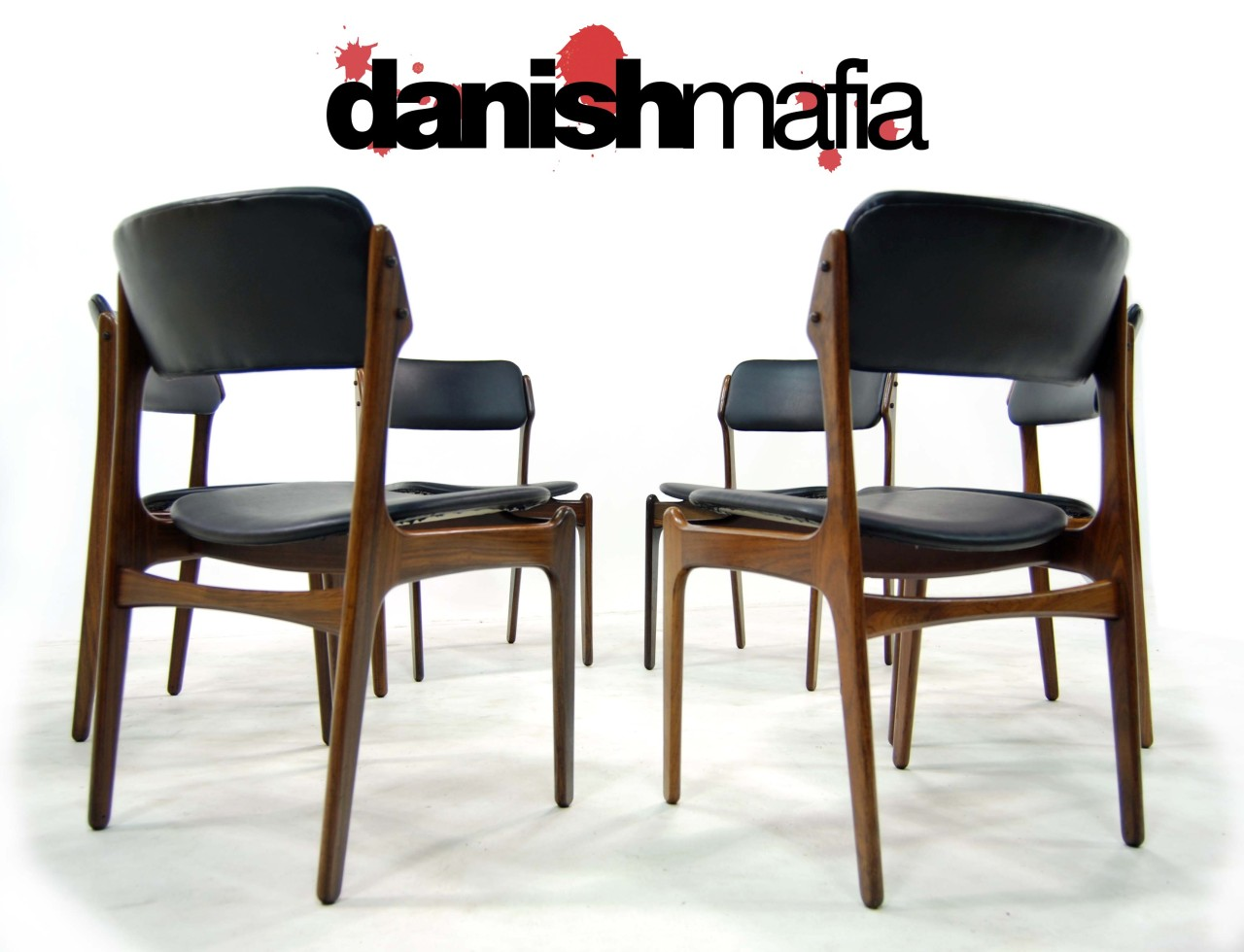 MID CENTURY DANISH MODERN ERIK BUCK ROSEWOOD DINING CHAIRS SET Danish Mafia