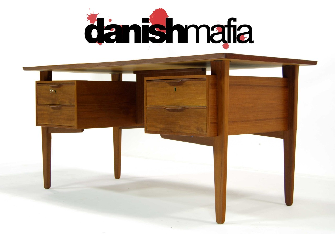 Mid Century Danish Modern Teak Office Desk