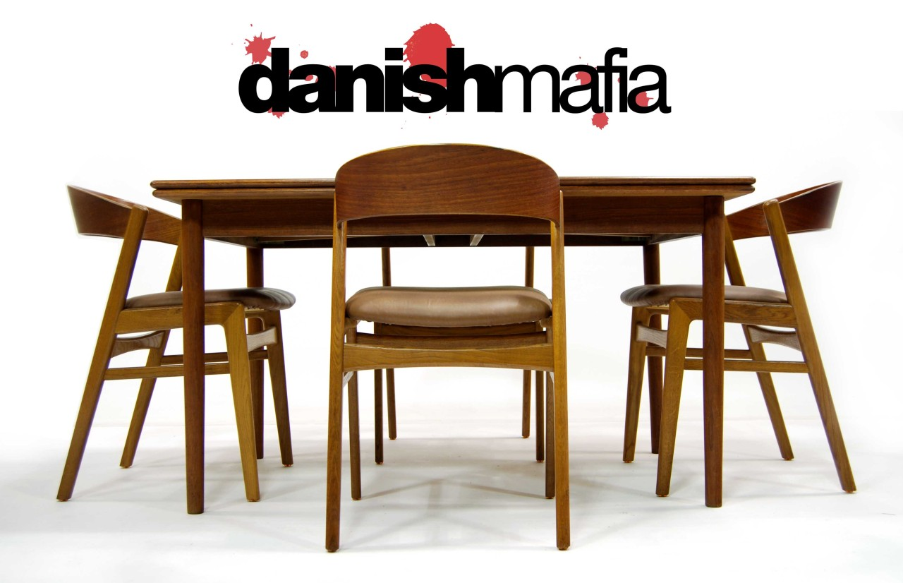mid century danish modern teak dining set table 6 chairs eames era