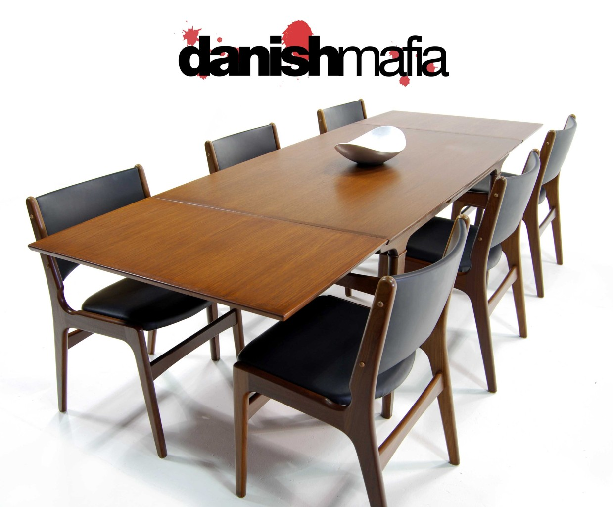 MID CENTURY DANISH MODERN TEAK DINING COMPLETE SET TABLE 6 CHAIRS EAMES