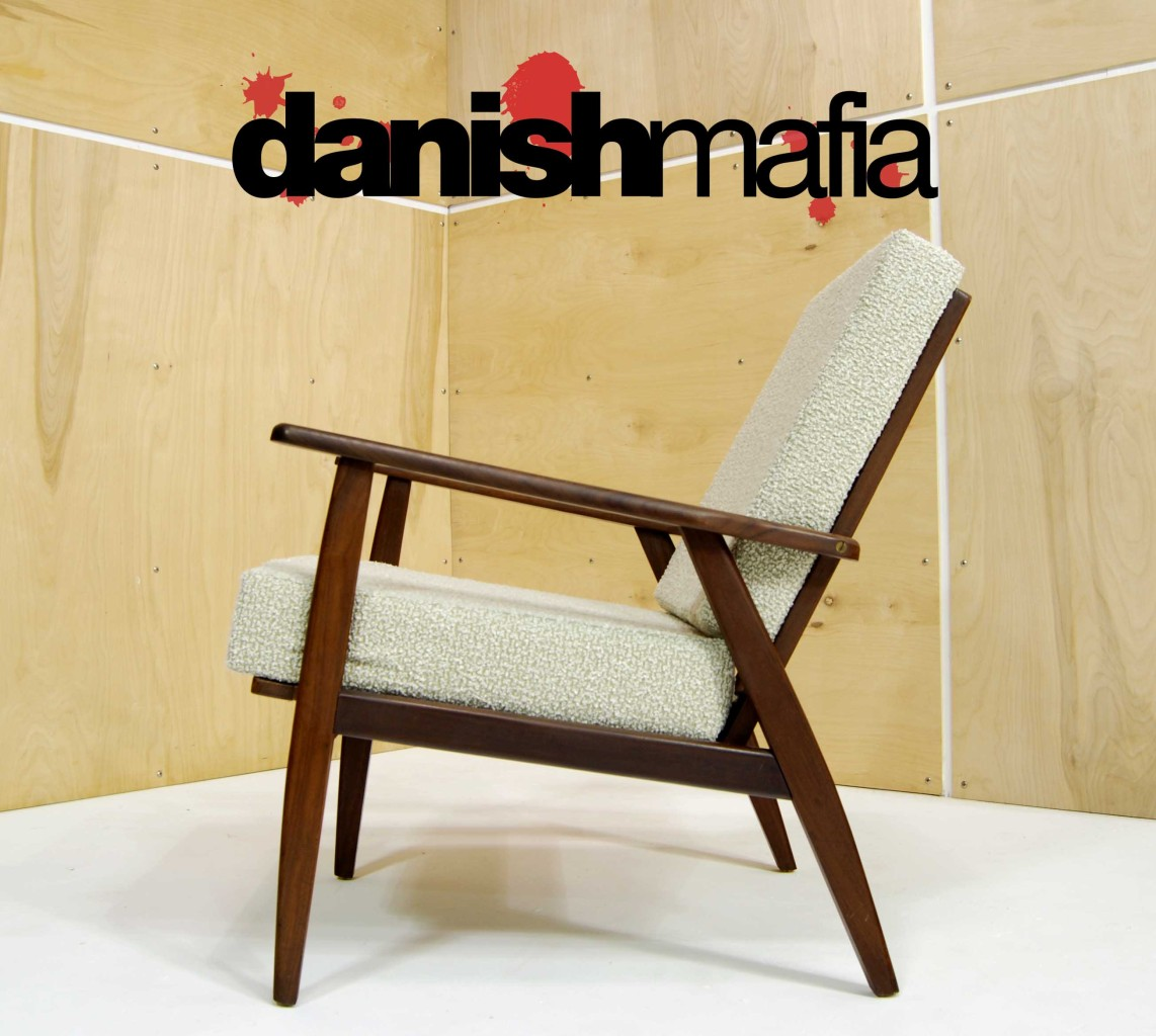 PAIR VINTAGE MID CENTURY DANISH MODERN LOUNGE ARM EASY CHAIRS