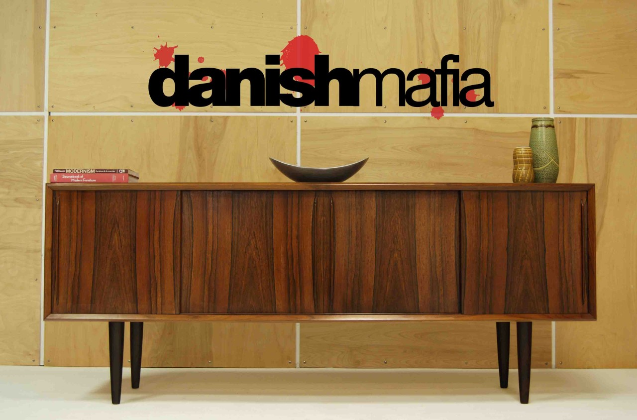 mid century danish modern bow front rosewood credenza 3