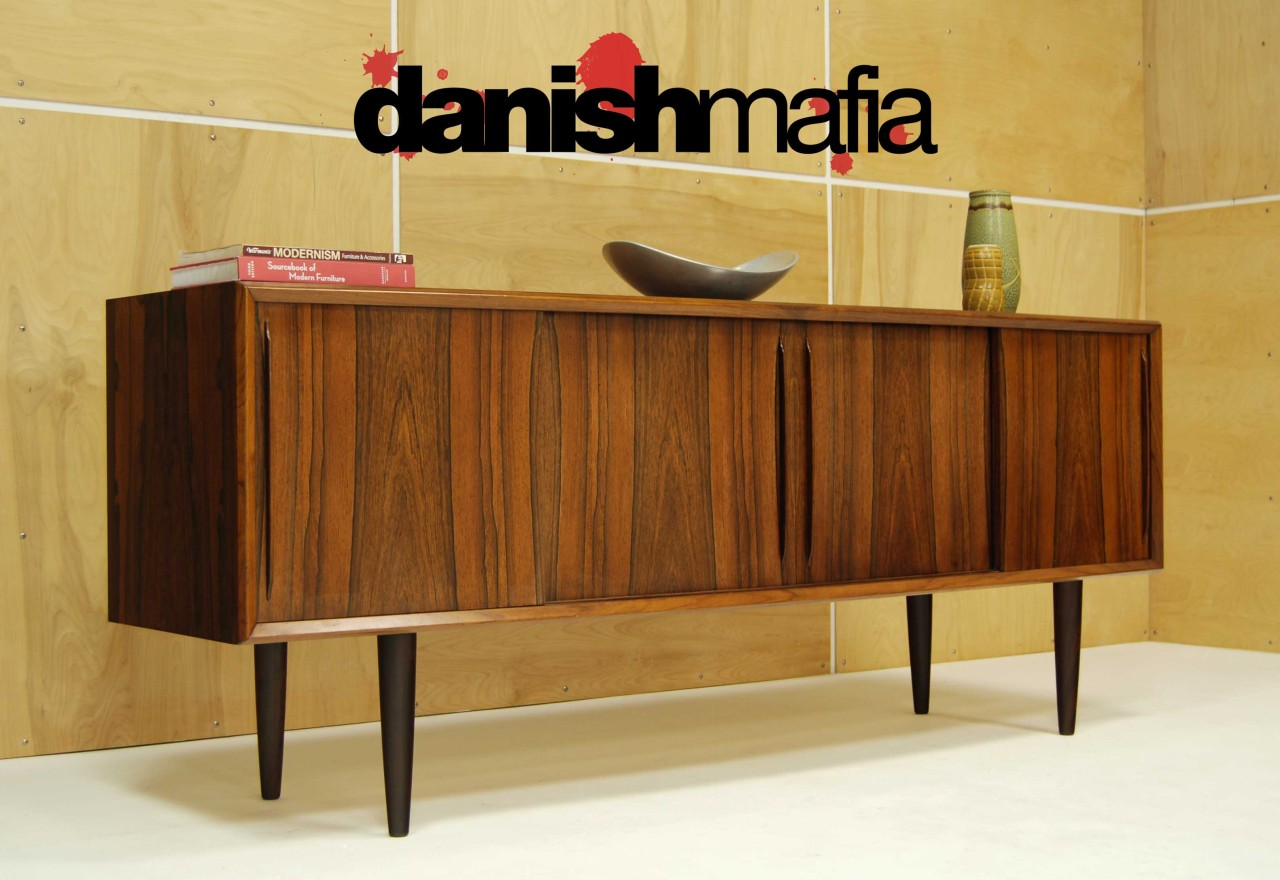 Mid century danish modern bow front rosewood credenza Danish modern furniture