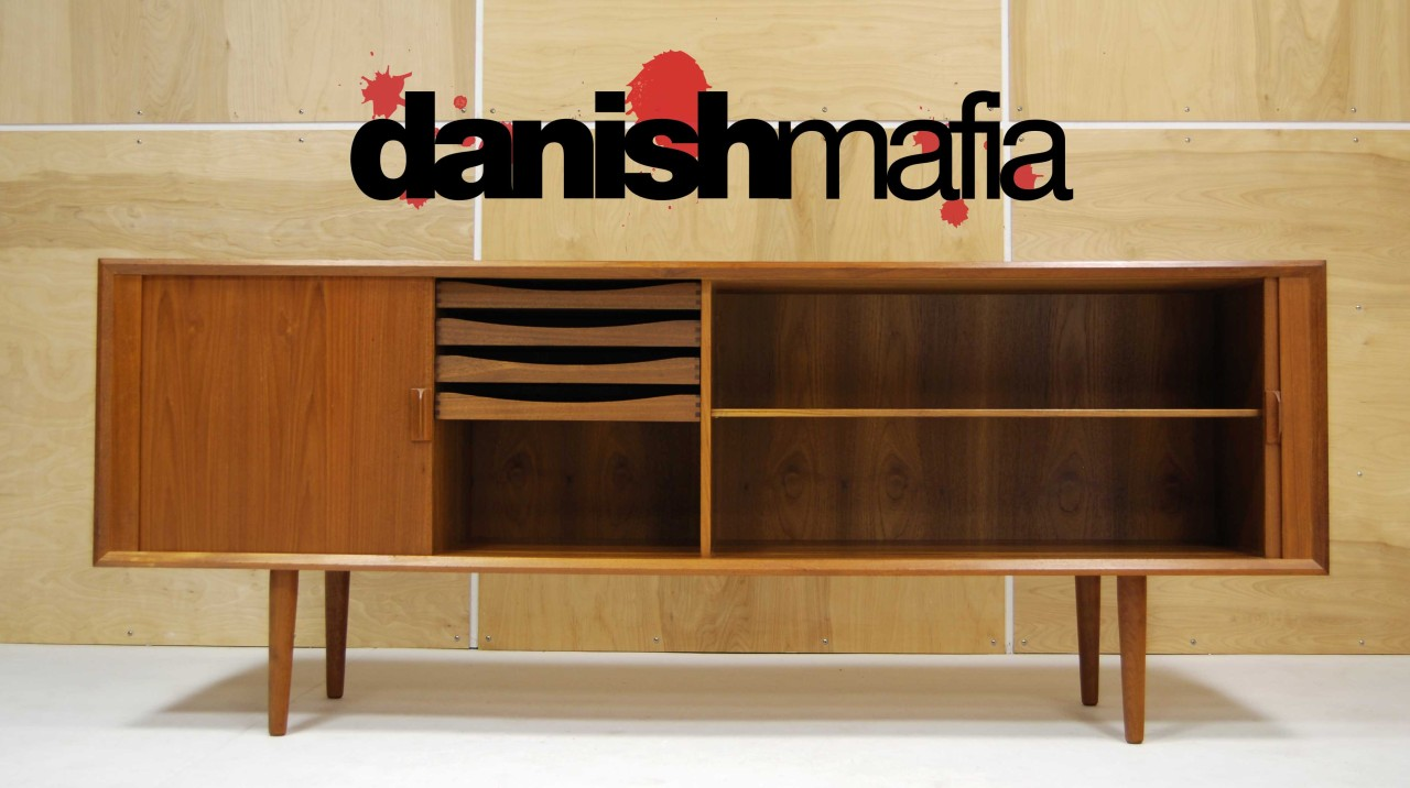 mid century danish modern designer teak credenza sideboard. Black Bedroom Furniture Sets. Home Design Ideas