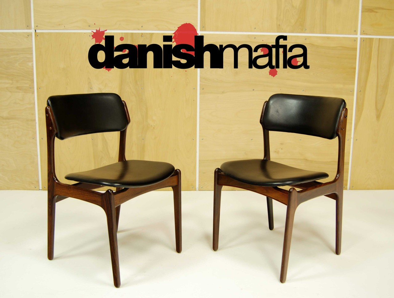 mid century danish modern rosewood erik buck chairs 1. Black Bedroom Furniture Sets. Home Design Ideas