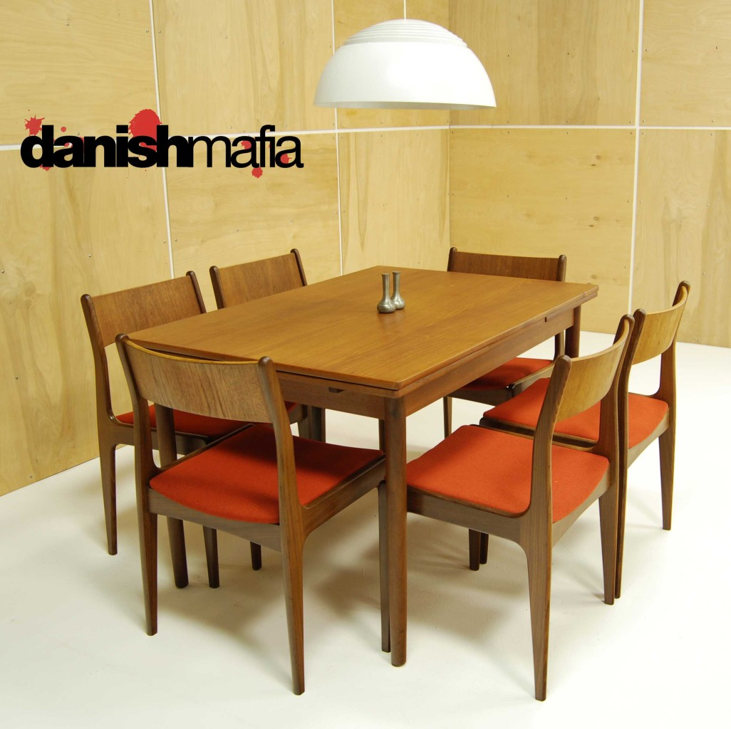 MID CENTURY DANISH MODERN TEAK DINING COMPLETE SET TABLE 6