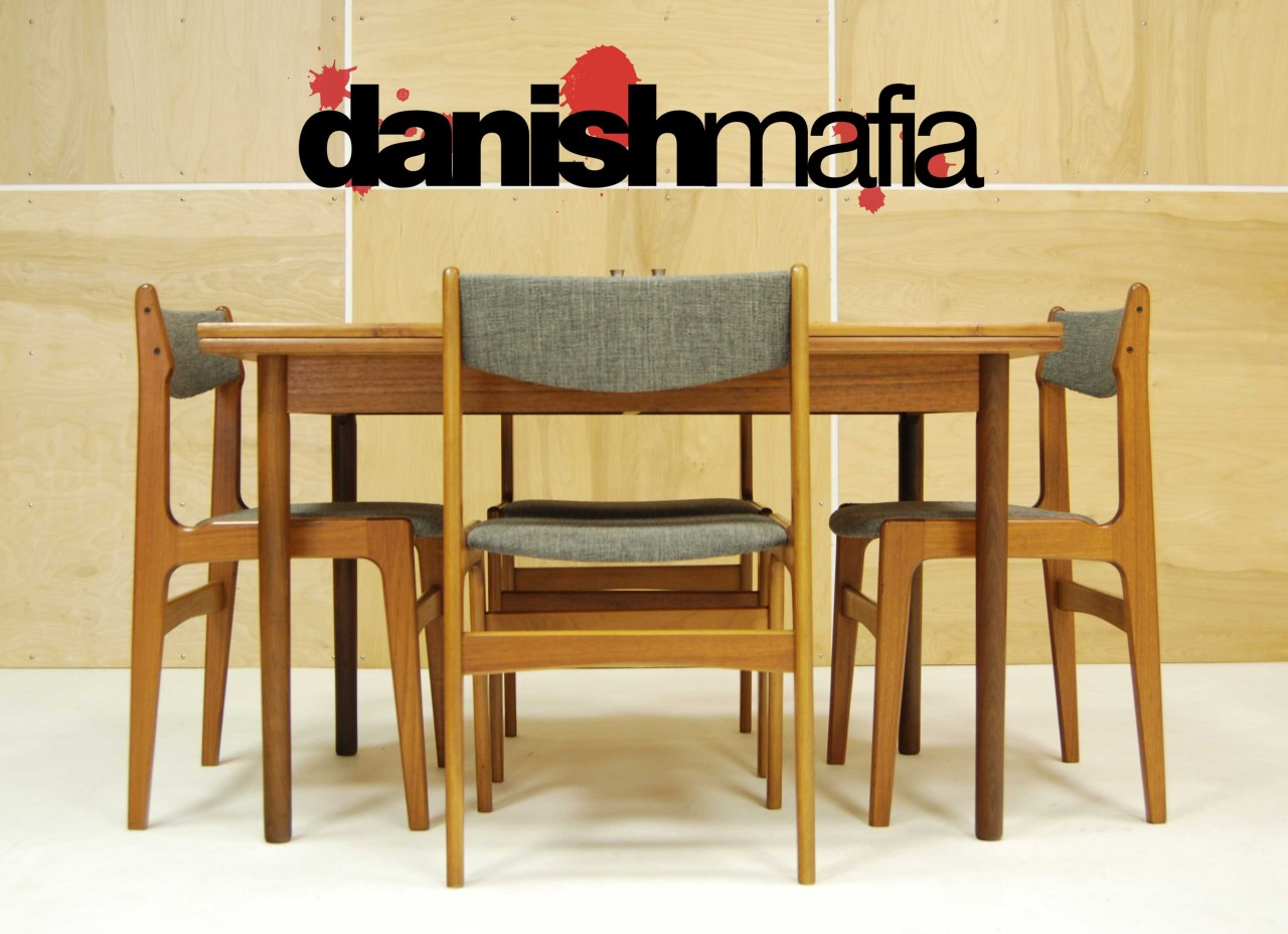Mid century danish modern teak dining complete set table for Modern dining table and chairs