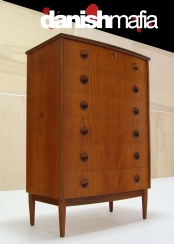 "MID CENTURY DANISH MODERN TEAK DRESSER CHEST OF DRAWERS ""Bow Front"""