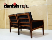 MID CENTURY DANISH MODERN ROSEWOOD LEATHER illum Wikkelso Sofa Couch Settee