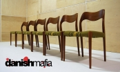 Set of 6 MID CENTURY DANISH MODERN TEAK DINING CHAIRS JL MOLLER Model #71