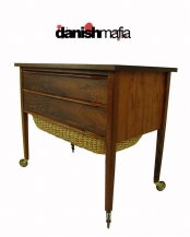 Vintage MID CENTURY DANISH MODERN Rosewood Sewing Cart Chest