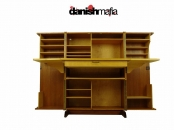 Vintage MID CENTURY DANISH MODERN Teak Folding Desk Hutch
