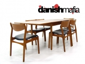 MID CENTURY DANISH MODERN TEAK DINING TABLE & CHAIR SET