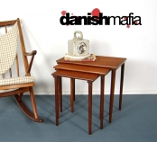 MID CENTURY DANISH MODERN TEAK NESTING SIDE END TABLES