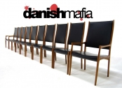 MID CENTURY DANISH MODERN TEAK DINING CHAIR SET EAMES