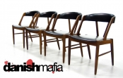 MID CENTURY DANISH MODERN TEAK 4 DINING CHAIR SET EAMES