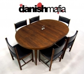 MID CENTURY DANISH MODERN ROSEWOOD DINING TABLE CHAIR