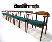 MID CENTURY DANISH MODERN TEAK DINING CHAIR SET