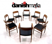 JL MOLLER DANISH MODERN TEAK DINING CHAIR SET EAMES