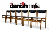 MID CENTURY DANISH MODERN TEAK DINING CHAIRS SET EAMES