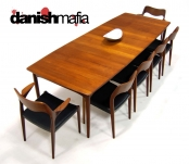 MID CENTURY DANISH MODERN SOLID TEAK JL MOLLER DINING TABLE