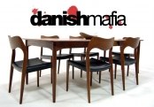 MID CENTURY DANISH MODERN TEAK DINING CHAIRS JL MOLLER Model#71