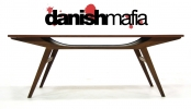 MID CENTURY DANISH MODERN TEAK SMILE SOFA COFFEE TABLE