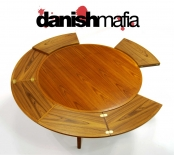 MID CENTURY DANISH MODERN TEAK DYRLUND DINING TABLE LOTUS FLIP FLAP