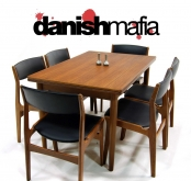 MID CENTURY DANISH MODERN TEAK DINING SET TABLE & 6 CHAIRS
