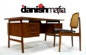 MID CENTURY DANISH MODERN TEAK OMANN JUN OFFICE DESK CREDENZA EAMES