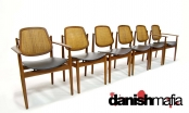 MID CENTURY DANISH MODERN SET 6 TEAK DINING ARM SIDE CHAIRS VODDER STUART EAMES