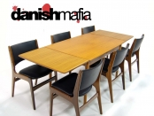 MID CENTURY DANISH MODERN VINTAGE TEAK DINING TABLE 2 LEAVES EAMES