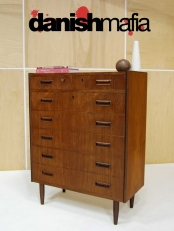 MID CENTURY DANISH MODERN TEAK BEDROOM DRESSER CHEST OF DRAWERS EAMES ERA