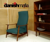 MID CENTURY DANISH MODERN TEAK TEAL LOUNGE SIDE CHAIR EAMES