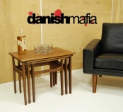 MID CENTURY DANISH MODERN TEAK NESTING SIDE END SOFA TABLES EAMES ERA