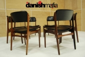 MID CENTURY DANISH MODERN 6 Erik Buck ROSEWOOD LEATHER DINING CHAIRS