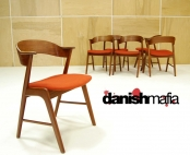 MID CENTURY DANISH MODERN 6 TEAK KAI KRISTIANSEN DINING ARM SIDE CHAIRS