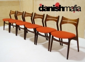 MID CENTURY DANISH MODERN SET OF 6 ERIK BUCK DINING CHAIRS