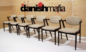 MID CENTURY DANISH MODERN 6 ROSEWOOD KAI KRISTIANSEN #42 DINING ARM SIDE CHAIRS