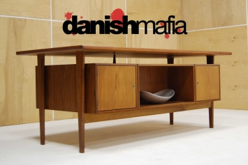 HUGE MID CENTURY DANISH MODERN TEAK KAI KRISTIANSEN OFFICE DESK 11