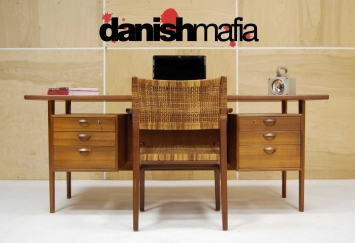 HUGE MID CENTURY DANISH MODERN TEAK KAI KRISTIANSEN OFFICE DESK 1