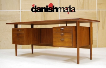 HUGE MID CENTURY DANISH MODERN TEAK KAI KRISTIANSEN OFFICE DESK 5