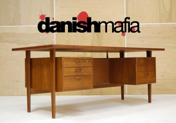 HUGE MID CENTURY DANISH MODERN TEAK KAI KRISTIANSEN OFFICE DESK 7