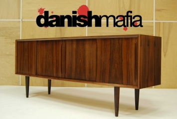 MID CENTURY DANISH MODERN BOW FRONT ROSEWOOD CREDENZA 2