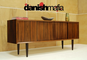 MID CENTURY DANISH MODERN BOW FRONT ROSEWOOD CREDENZA 4