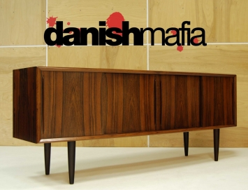 MID CENTURY DANISH MODERN BOW FRONT ROSEWOOD CREDENZA1